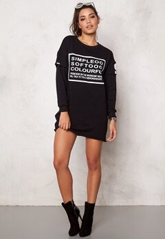 Chiara Forthi Sweatshirt Dress Black/White Bubbleroom.se