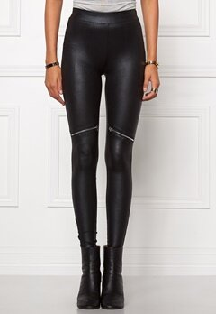 Chiara Forthi Zipped Shiny Leggings Black/Silver Bubbleroom.se