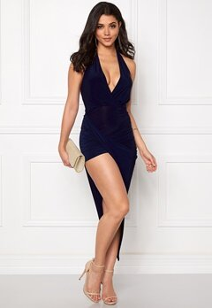 Club L Ring Detail Ruched Detail Navy Bubbleroom.se