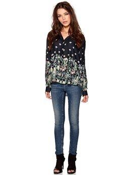 D.Brand Elda Chadburry Shirt Black/Green Flowers Bubbleroom.se