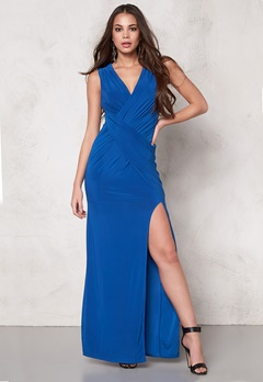 Goddiva Front Split Maxi Dress Royal Blue Bubbleroom.se