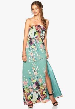 DRY LAKE Amber Long Dress Dusty Green Flower Bubbleroom.se