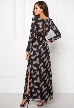 DRY LAKE Black Elf Long Dress Black Feather Print Bubbleroom.se