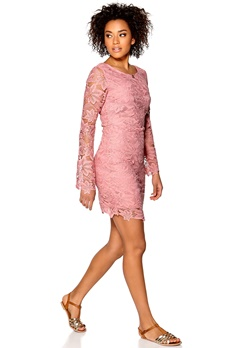 DRY LAKE Fleur Lace Dress Pink Bubbleroom.se