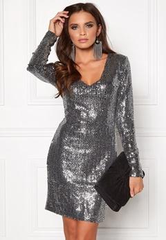 DRY LAKE Star V Dress Dark Silver Bubbleroom.se