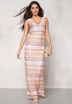 DRY LAKE Ziczac Long Dress Pink Sunset Bubbleroom.se