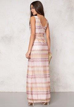DRY LAKE Ziczac Long Dress Pink Sunset Bubbleroom.se