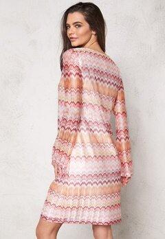 DRY LAKE Ziczac Short Dress Pink Sunset Bubbleroom.se