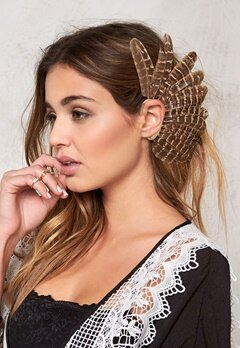 77thFLEA Feather ear cuff Brown melange/Gold Bubbleroom.se