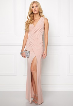 Goddiva Front Split Maxi Dress Nude Bubbleroom.se