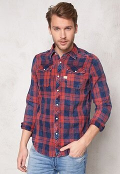 G-STAR Landoh Shirt l/s 6132 Indigo/redwood Bubbleroom.se