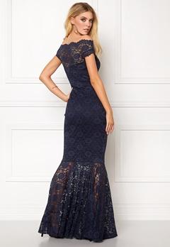 Goddiva Bardot Lace Maxi Dress Navy Bubbleroom.se