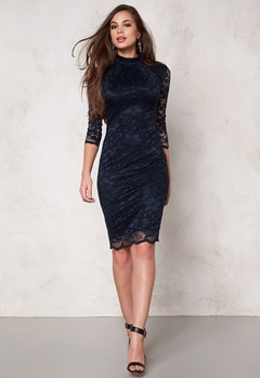 Goddiva Dress Navy Bubbleroom.se