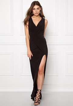 Goddiva Front Split Maxi Dress Black Bubbleroom.se