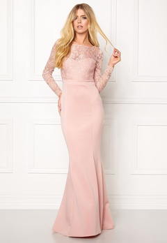 Goddiva Open Back Lace Dress Nude Bubbleroom.se