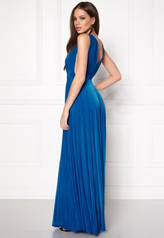 Goddiva Pleated Oscar Dress Royal Blue Bubbleroom.se