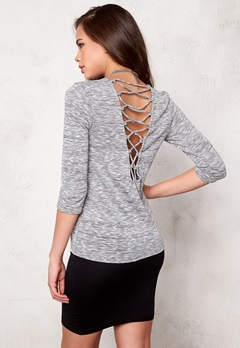 ONLY Gubbi back lace 3/4 Light grey melange Bubbleroom.se