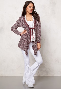 Happy Holly Terese Cardigan Vinröd/Offwhite Bubbleroom.se