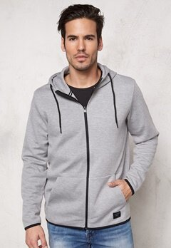 JACK&JONES Basic Sweat Zip Hood Light Grey Melange Bubbleroom.se