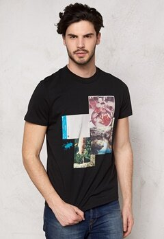 JACK&JONES Collage ss Tee Black Bubbleroom.se