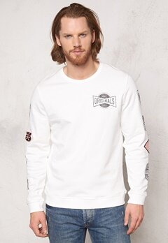 JACK&JONES Logo Sweat Crewneck Cloud Dancer Bubbleroom.se