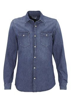 JACK&JONES One Shirt LS Noos Dark Blue Denim Bubbleroom.se