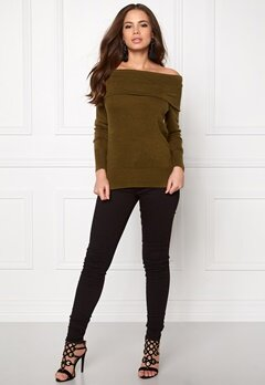 Jacqueline de Yong Bellami off shoulder Dark olive Bubbleroom.se