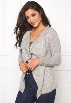 Jacqueline de Yong Gaby l/s button cardigan Light grey melange Bubbleroom.se