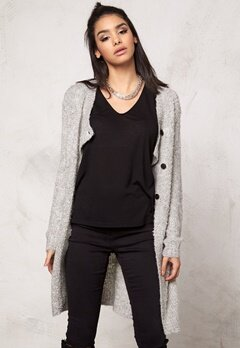 Jacqueline de Yong Gilly L/S Button Cardigan Light Grey Melange Bubbleroom.se