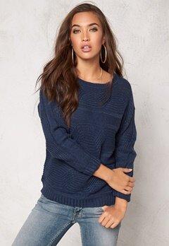 Jacqueline de Yong Gino l/s Pullover Knit Mood Indigo Bubbleroom.se