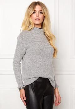 Jacqueline de Yong Raven highneck pullover Light grey melange Bubbleroom.se