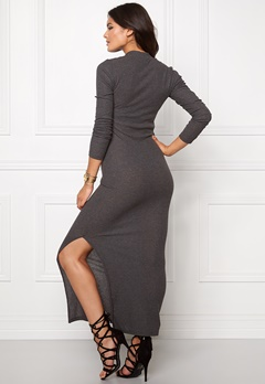 Jacqueline de Yong Ribby l/s dress Dark grey melange Bubbleroom.se