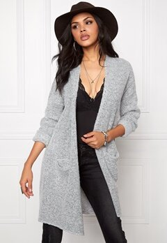 Jacqueline de Yong Stark l/s long cardigan Light grey melange Bubbleroom.se