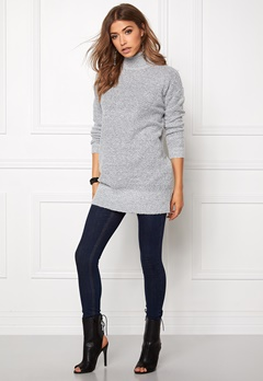 Jacqueline de Yong Stark ls long pullover Light grey melange Bubbleroom.se