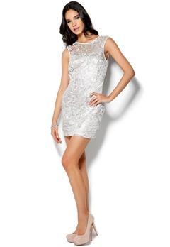 Lipsy Love Back Lace Dress White Metallic Bubbleroom.se