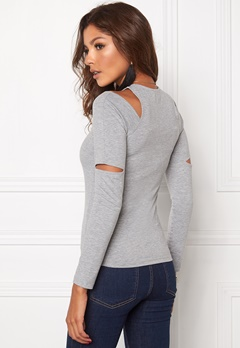 Make Way Claudia Top Light grey melange Bubbleroom.se
