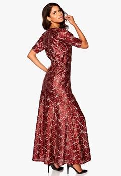 Make Way Eugene Maxi Dress Dark red/Gold Bubbleroom.se