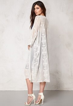 Make Way Mariah Long Kimono White Bubbleroom.se