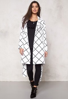 Make Way Naemi Trenchcoat White/Black/Checked Bubbleroom.se