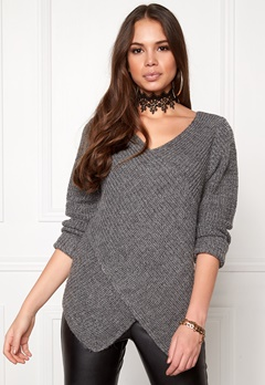 VILA Match Wrap Knit Top Dark Grey Melange Bubbleroom.fi