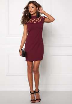 Mixed from Italy Laser Cut Bodycon Dress Wine Bubbleroom.se
