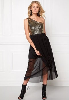 Model Behaviour Maria Maxi Dress Gold/Black Bubbleroom.se
