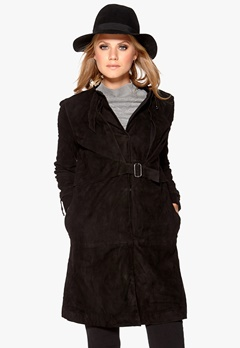 OBJECT Aura Suede Trenchcoat Black Bubbleroom.se