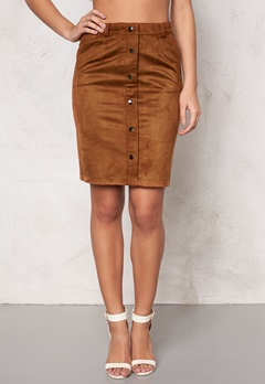 OBJECT Emma Faux Suede Skirt Cognac Bubbleroom.se