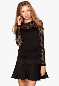 OBJECT Lip Lace L/S Top Black Bubbleroom.se