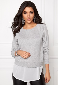 ONLY Akki L/S Mix O-neck light Grey Melange Bubbleroom.se
