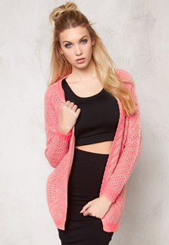 ONLY Brice l/s open cardigan Neon Pink Bubbleroom.se