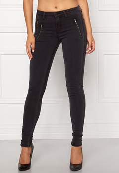 ONLY Eternal Skinny Zip Jeans Dark Grey Denim Bubbleroom.se