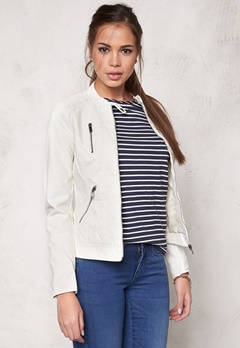ONLY Ferry Pu Biker Jacket nos White Alyssum Bubbleroom.se