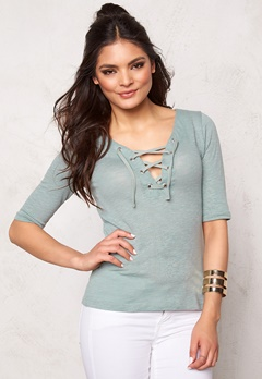 ONLY Freja Lace up 2/4 Top Slate Gray Bubbleroom.se
